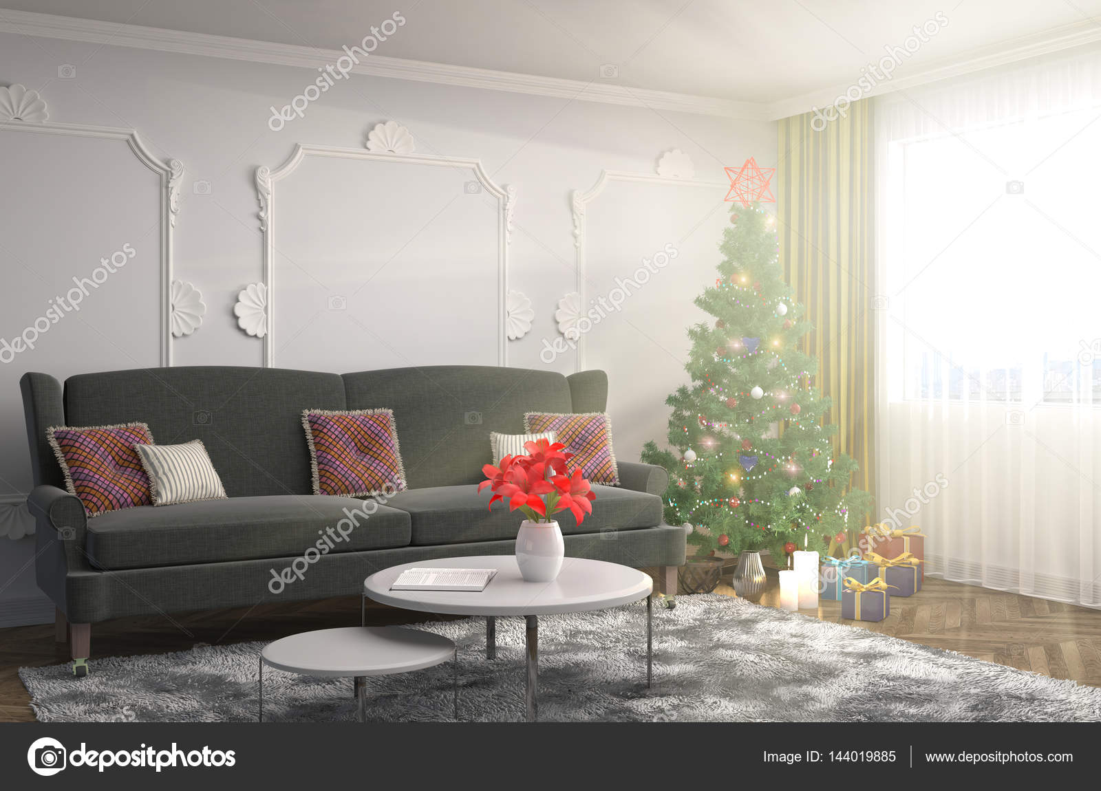 Kerstboom met decoratie in de woonkamer. 3D illustrat — Stockfoto ...