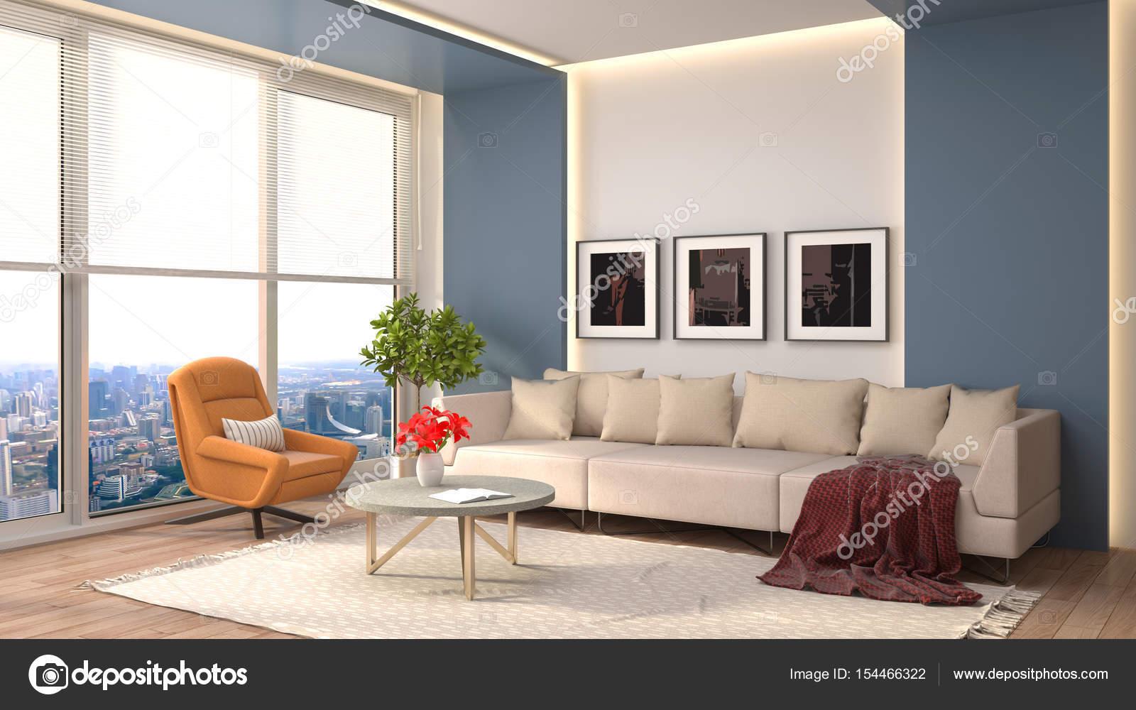 Interieur mit Sofa. 3D-Illustration — Stockfoto © StockerNumber2 ...