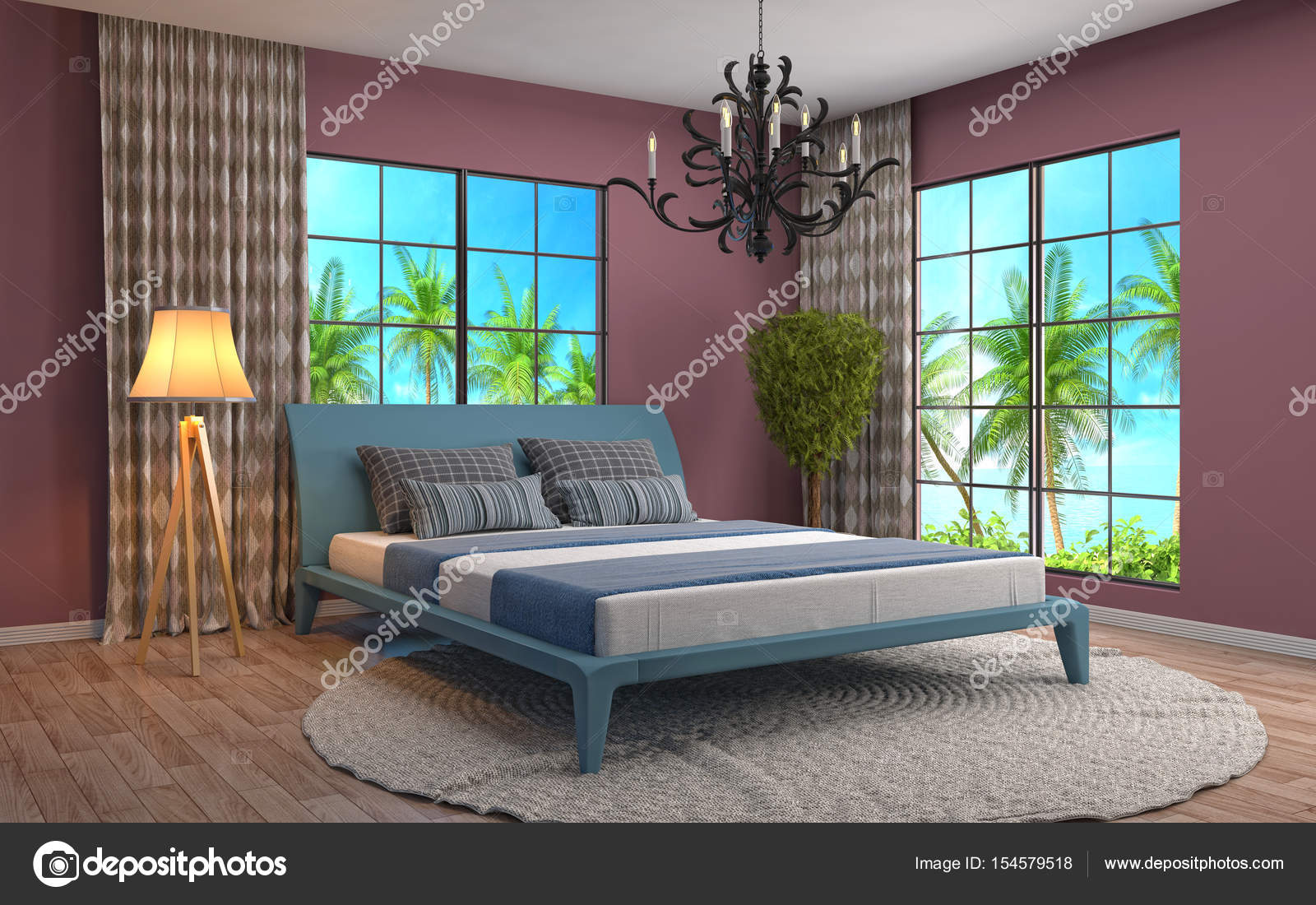 intrieur de chambre coucher illustration 3d image de stockernumber2