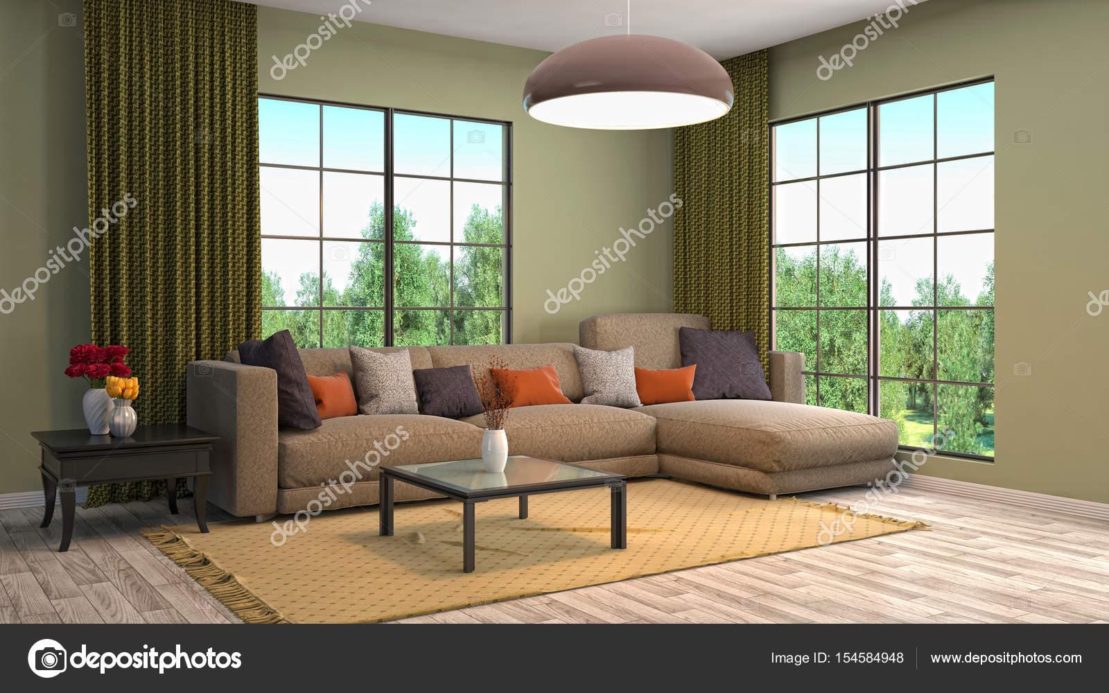 interieur van de woonkamer 3d illustratie stockfoto