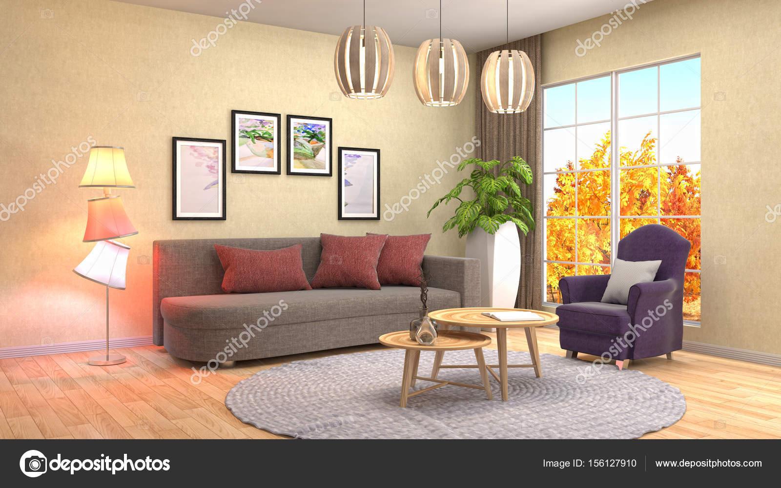 Interieur van de woonkamer. 3D illustratie — Stockfoto ...