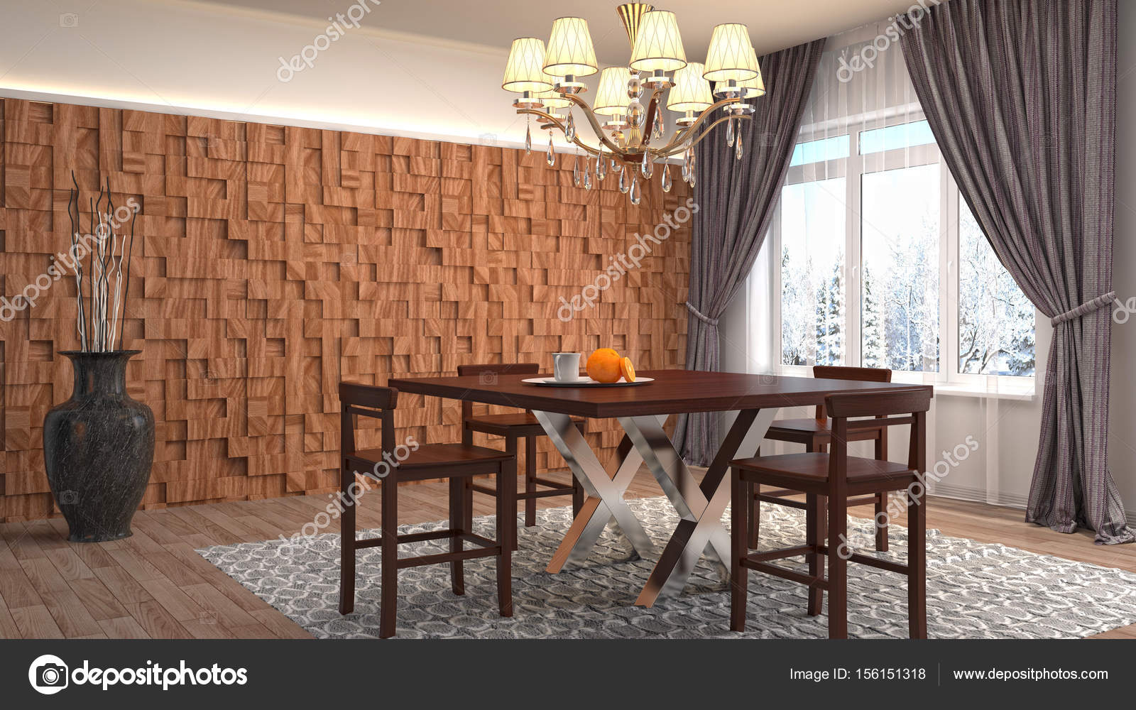 Interieur eethoek 3d illustratie stockfoto for Interieur 3d