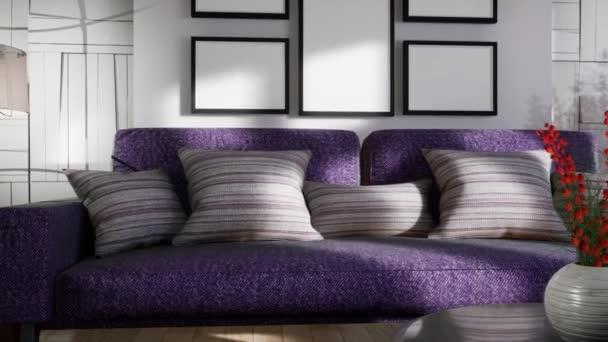 Interiér obývacího pokoje. 3D obrázek