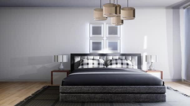 Hálószoba. Ágy. 3d illusztráció