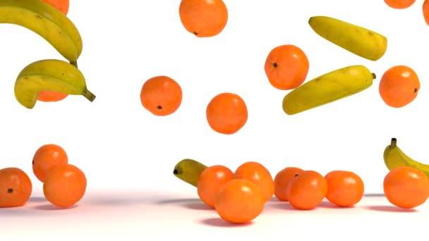 Ripe mandarin citrus and banana isolated on white background. 3d illustration