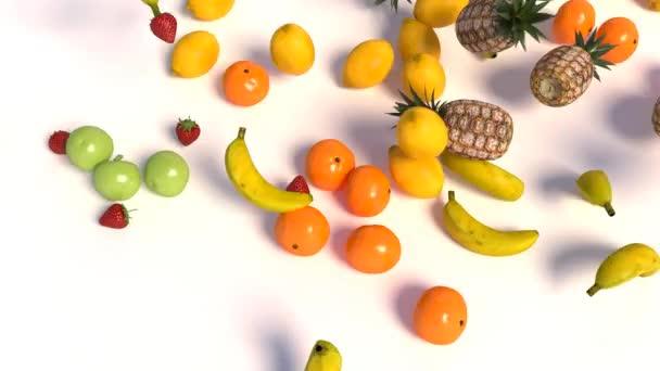 Ripe fruits on white background. 3d illustration
