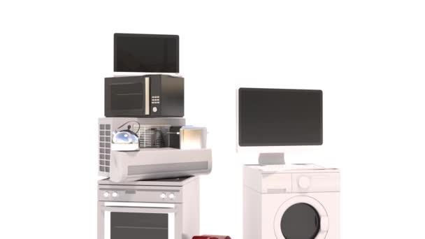Haushaltsgeräte. Gasherd, TV-Kino, Kühlschrank Klimaanlage Mikrowelle, Laptop. 3D-Illustration