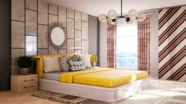 Schlafzimmereinrichtung. Bett. 3D-Illustration