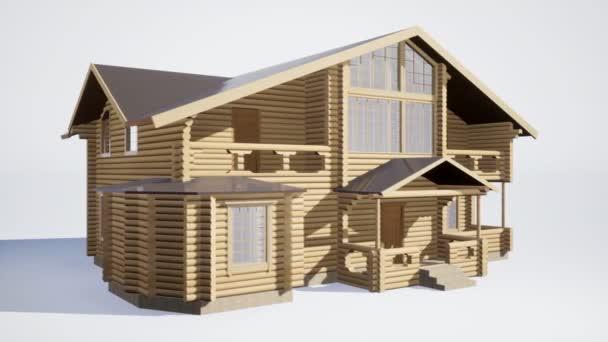 dřevěný dům izolovaný na bílém pozadí. 3D ilustrace