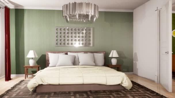 A nappali és a hálószoba belseje. 3D illusztráció