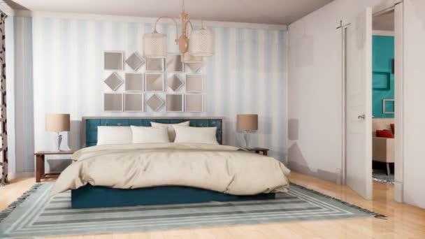 Interiér obývacího pokoje a ložnice. 3D ilustrace