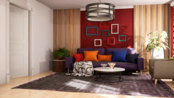 Interior of the living room and bedroom. 3D illustration
