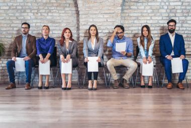 Front view of candidates waiting for job interview