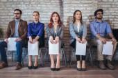 Fotografie Foto von Kandidaten für ein Vorstellungsgespräch warten