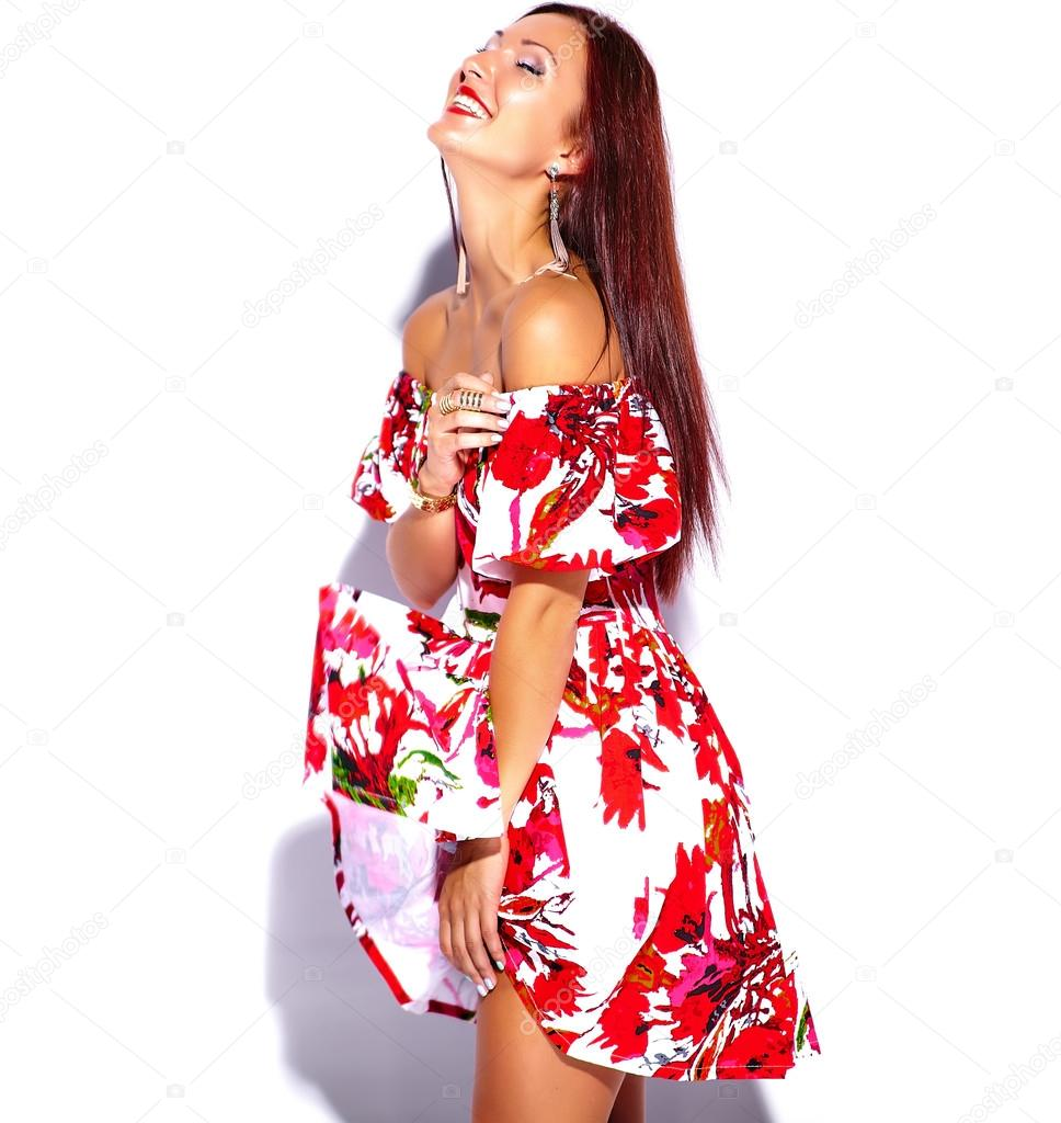 0b52cabd7910 Brunette woman in bright summer dress — Stock Photo © alexhalay ...
