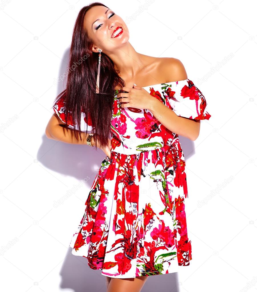 995c6404c8f Brunette woman in bright summer dress — Stock Photo © alexhalay ...