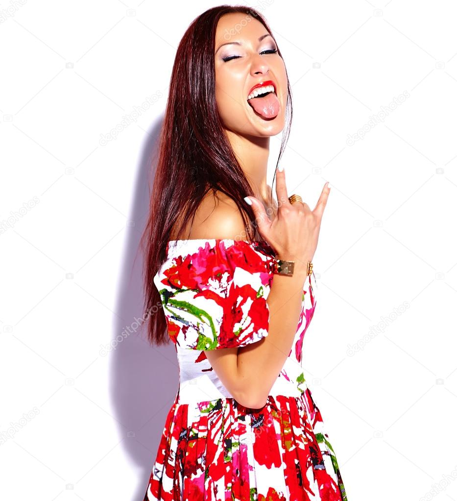 8e1990c18cf Brunette woman in bright summer dress — Stock Photo © alexhalay ...