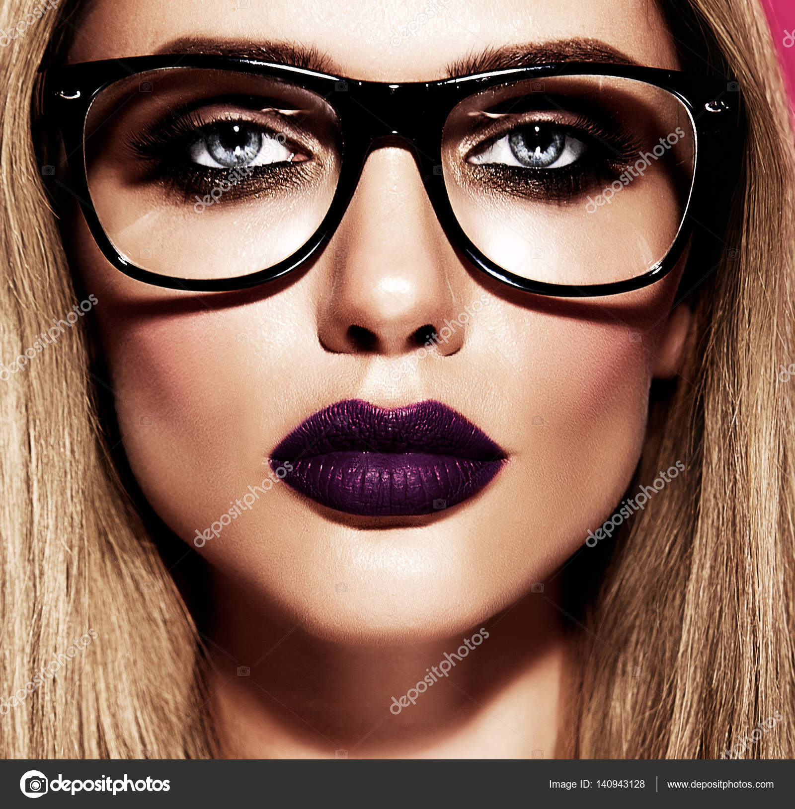 6627170c989 Hot beautiful blond woman model with fresh daily makeup with dark purple  lips color and clean healthy skin in glasses — Photo by alexhalay