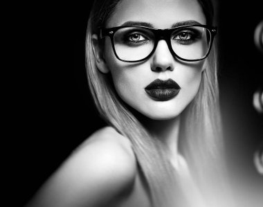 sensual glamour portrait of beautiful woman model with fresh daily makeup
