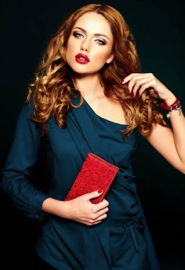 beautiful woman model with fresh daily makeup with red lips color