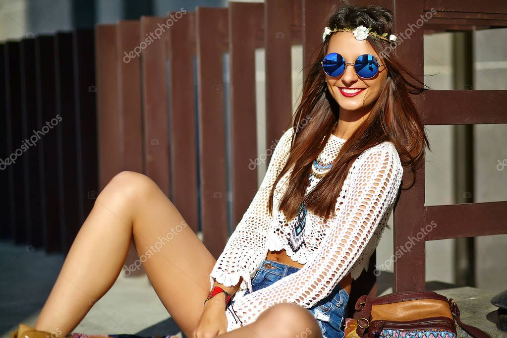 sexy smiling beautiful young hippie woman model in summer  hipster clothes