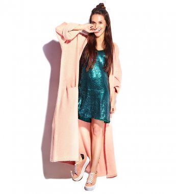 Beautiful smiling hipster brunette woman model in stylish pink overcoat and blue evening dress isolated on white background. Biting her finger, full length stock vector