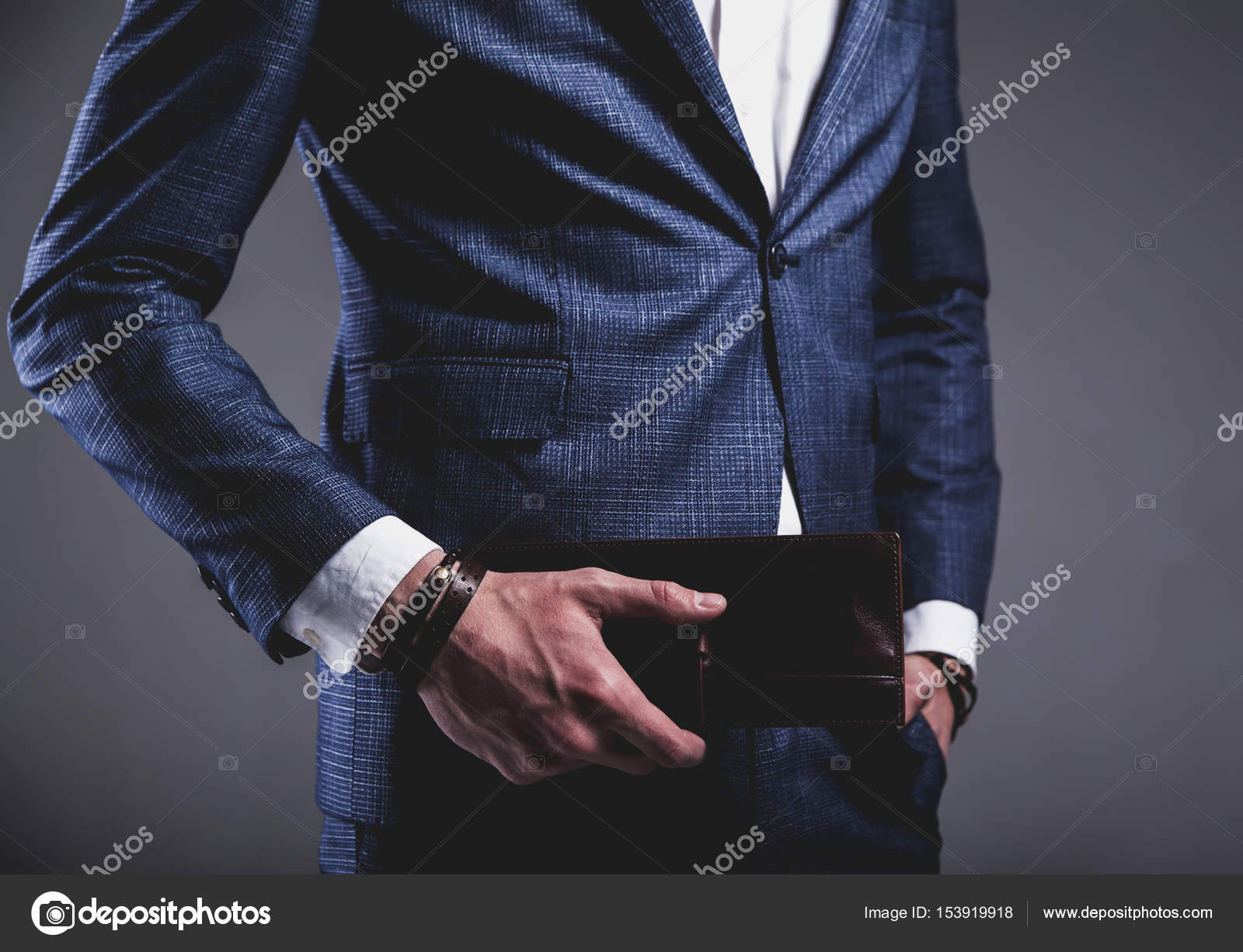 young businessman handsome model man dressed in elegant blue suit ...