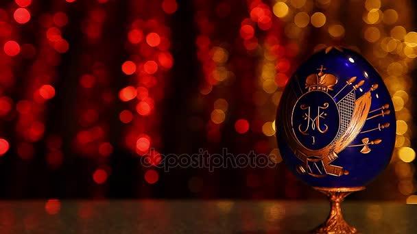 Vintage blue Egg studio Russian Eagles Gold Icon