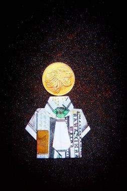 Doları Origami Altın Aslan para asfalt arka plan