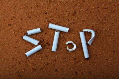 Broken cigarette stop text
