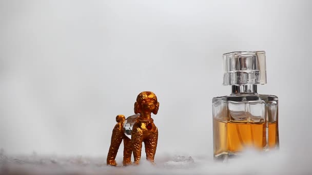 Glass perfume bottle Gold Dog Winter snow