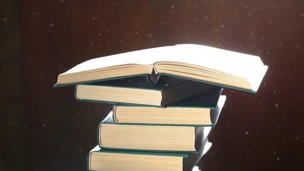 könyv por sötét fa háttér hd felvételek