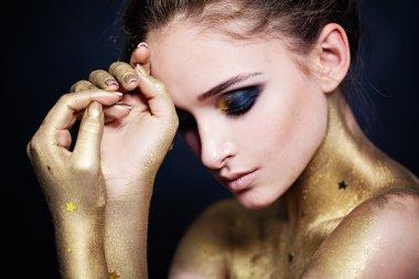 Pretty Woman Fashion Model. Smokey Eyes Makeup