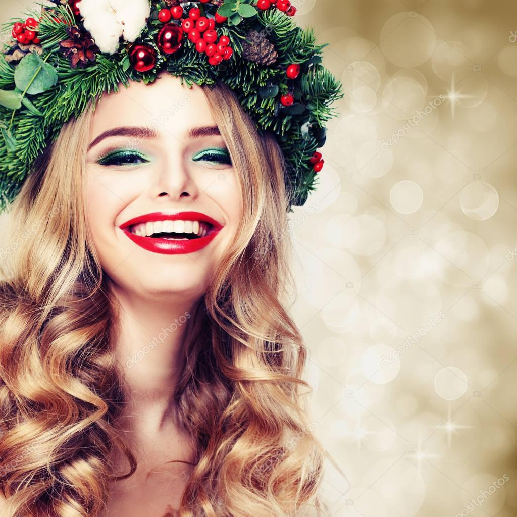 Christmas Beauty.Christmas Or New Year Beauty Smiling Model Woman With
