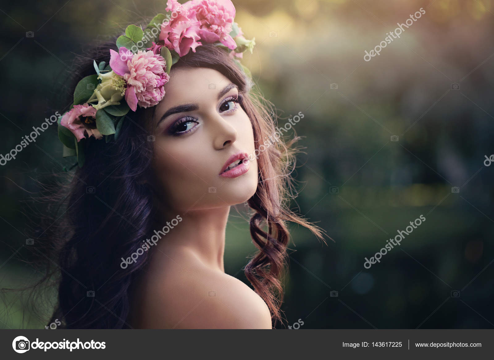Beautiful woman with flowers wreath outdoors sunset in summer g beautiful woman with flowers wreath outdoors sunset in summer g stock photo izmirmasajfo Image collections