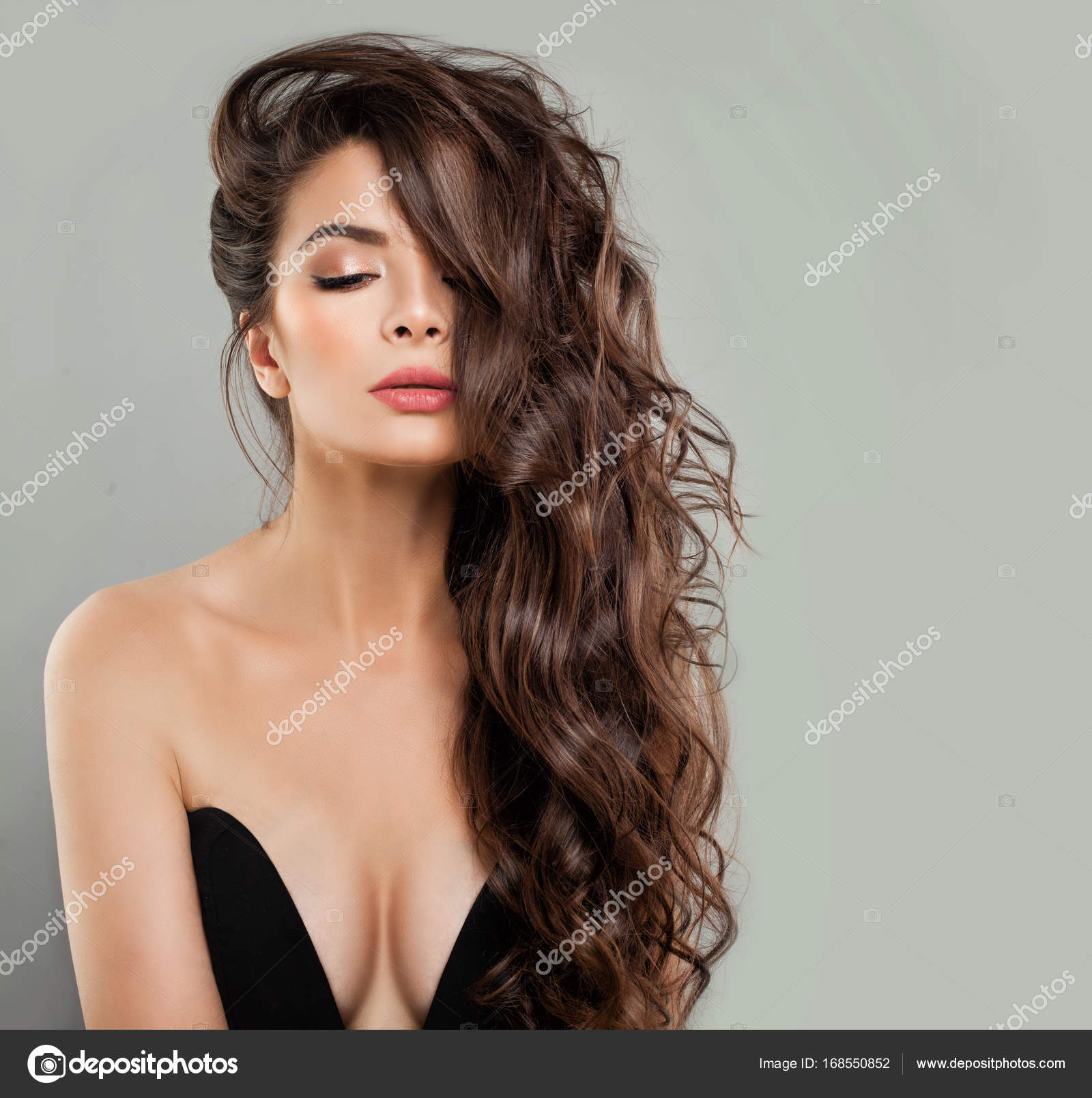 Alluring Woman Fashion Model In Black Bra On Banner Background Stock Photo C Millafedotova 168550852