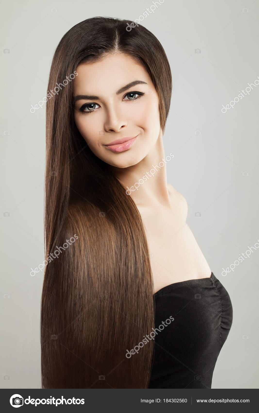 Lange Haare Frau Portrait Haarpflege Konzept Stockfoto