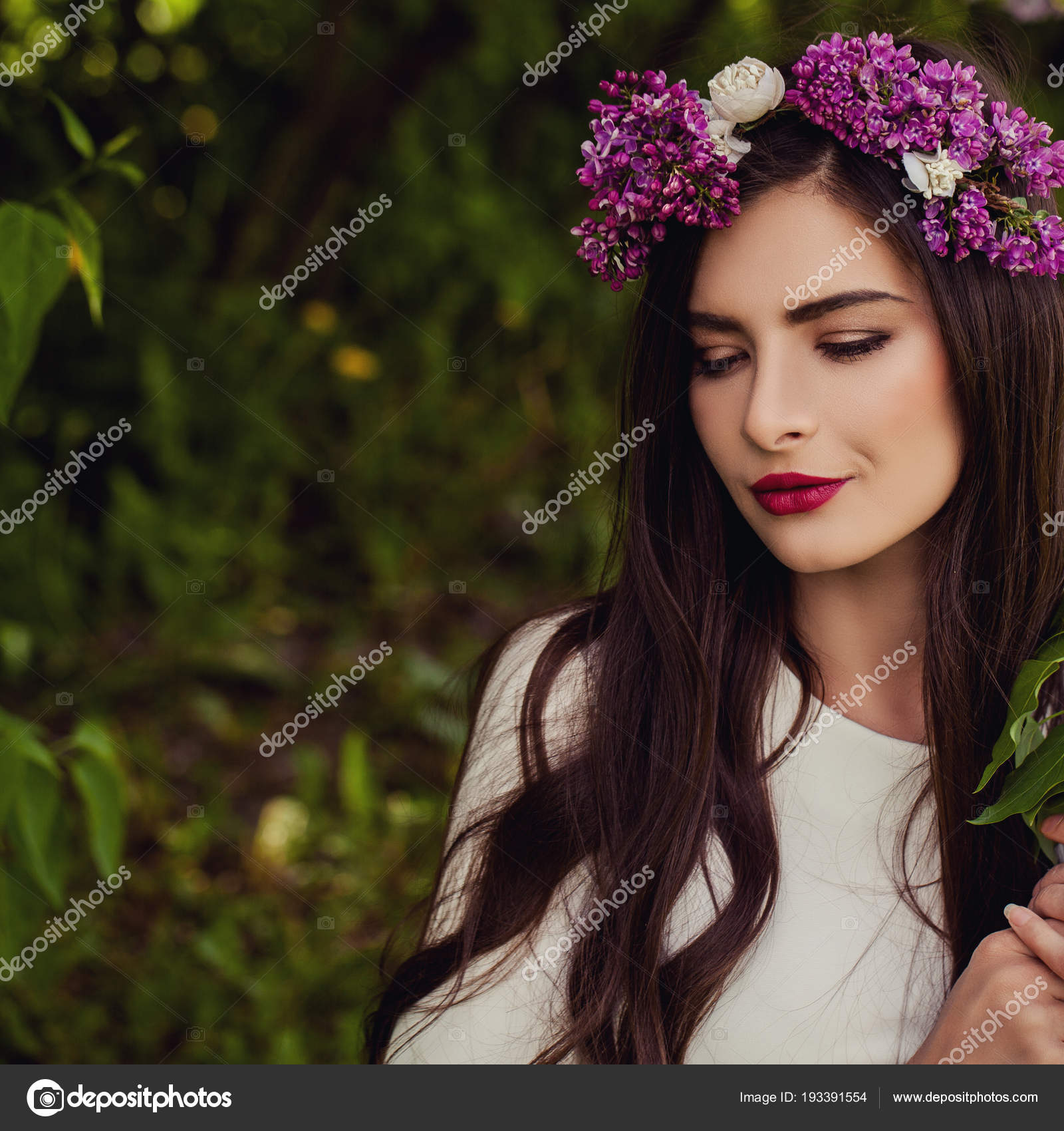 Beautiful woman with flowers wreath outdoor summer portrait stock beautiful woman with flowers wreath outdoor summer portrait on natural soft focus background with copy space photo by millafedotova izmirmasajfo