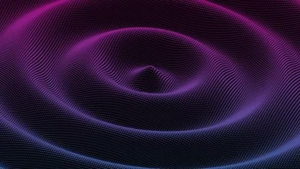Abstraktní vlnové pozadí s pohyblivým krychlovým povrchem. Radiální vlnění
