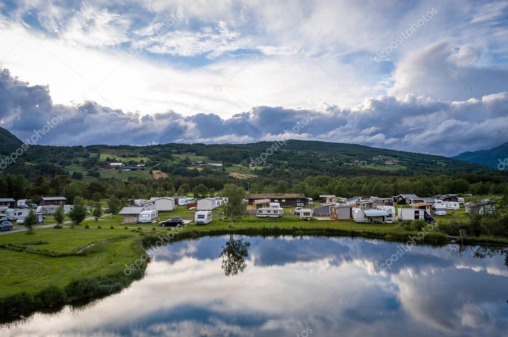Norwegian camping at lake