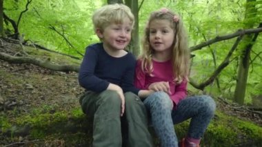 Childs Walking And Having Fun In The Forest
