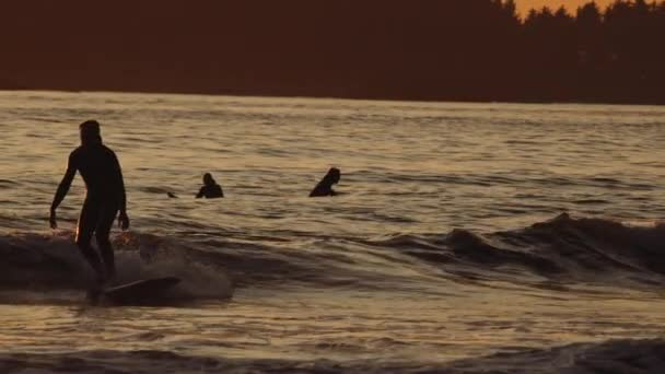 Surfer Riding Wave On Sea At Sunset