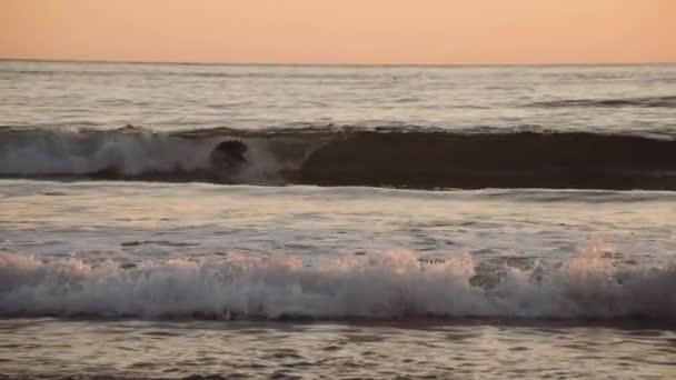 Sunset Surfers On Slow Motion Sea