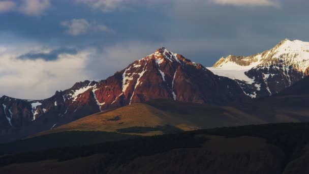 Long and Still Shot of the Mountains of El Chalten in Argentina