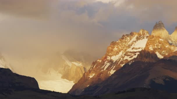 A Warm Sunset Clip of the Mountains of El Chalten in Argentina