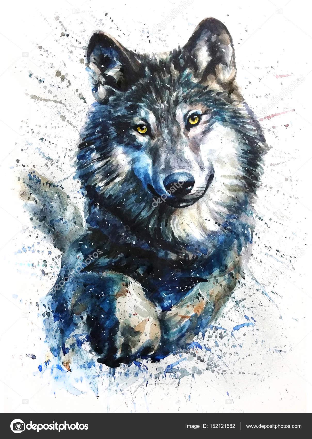Watercolor Black Dog