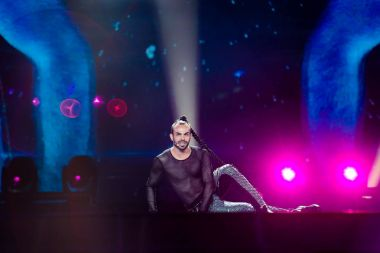 KYIV, UKRAINE - MAY 08, 2017:   Slavko Kalezic from Montenegro at the first semi-final rehearsal during Eurovision Song Contest, in Kyiv, Ukraine stock vector