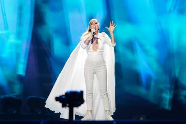 KYIV, UKRAINE - MAY 08, 2017:   Svala from Iceland at the first semi-final rehearsal during Eurovision Song Contest, in Kyiv, Ukraine stock vector