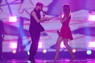 KYIV, UKRAINE - MAY 10, 2017: Ilinca & Alex Florea from Romania at the second semi-final rehearsal during Eurovision Song Contest, in Kyiv, Ukraine stock vector
