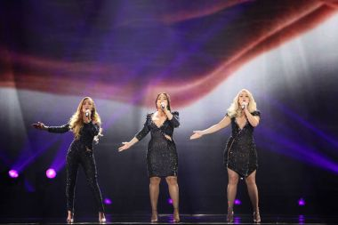 KYIV, UKRAINE - MAY 10, 2017:  OG3NE from Netherlands at the second semi-final rehearsal during Eurovision Song Contest, in Kyiv, Ukraine stock vector